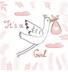 Baby girl announcement card vector with stork - by Olillia on VectorStock®