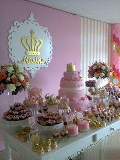 Gold & Pink Princess Birthday Party dessert table decor
