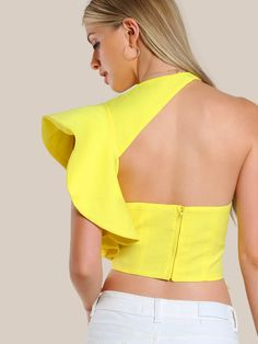 Flounced One Shoulder Tailored Top -SheIn(Sheinside) Off Shoulder Jacket, One Shoulder Tops, Crop Top Outfits, Summer Outfits, African Fashion, Indian Fashion, Dressy Tops, Moda Fashion, Mode Vintage