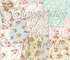 MINI BACKGROUNdS Collage Digital Images -printable download file-