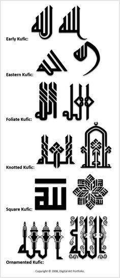 Kufic Calligraphy Variations – Islamic Graphics