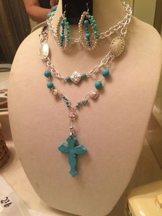 Extra LG Turquoise Cross Pendant with Extra Long Chain and Wire Wrapped Beads | eBay