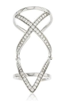 18K White Gold Plated Sterling Silver Pave CZ Chevron