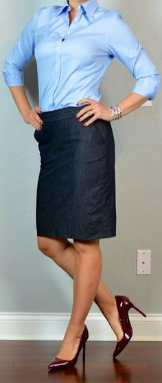 Outfit Posts: outfit post: blue button down, denim pencil skirt, burgundy heels