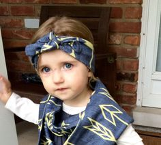 Organic baby and toddler turban headband, arrow print headband, organic baby and toddler fashion, baby and toddler headband  https://www.etsy.com/listing/246146310/organic-cotton-navy-arrow-print-turban
