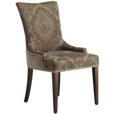 Our Adelle Dining Chair packs a powerful one-two punch. Adorning the front is a beautiful damask pattern while the back features a bold, single-color look. Accentuated with antique brass nailhead trim and supported by a sturdy birch frame and tapered legs, it's a classic contemporary knockout.