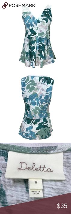 Anthropologie Deletta Amelia Leaf Peplum Top M Anthropologie Deletta Amelia tank top, size M. All over tropical leaf print. V-neckline. Peplum detail at the hem. EUC - no flaws noted.  approx measurements laid flat - pit to pit: 18.75 length: 24.5 Anthropologie Tops Tank Tops