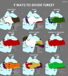 9 Ways to Divide Turkey - Vivid Maps Funny Maps, Turkey Flag, Ww1 History, European Map, Country Maps, Turkey Country Map, Alternate History, Flags Of The World, Ottoman Empire