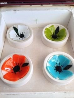 adorable fused glass flower bowls