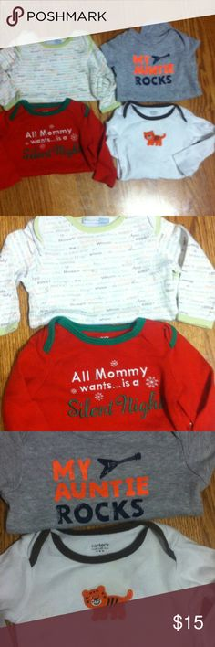 """Carter's Onesie Bundle! 4 Carter's onesies (3 long sleeve, 1 short sleeve). Top left one: Long sleeve with various sayings in owl form """"whooo needs..."""" Hug/kiss/the boss/adorable/etc. Bottom left: Red with white and green saying """"all mommy wants is a silent night"""". Top right: Gray """"my auntie rocks"""" with guitar. Bottom right: ivory color with adorable orange tiger Carter's Shirts & Tops Tees - Long Sleeve"""