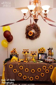 sunflower party decorations ideas for girls Sunflower Birthday Parties, Fall Birthday Parties, Birthday Party Themes, 7th Birthday, Birthday Ideas, Birthday Gifts, Sunflower Party Themes, Sunflower Decorations, Sunflower Colors