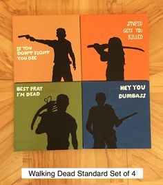 Calling all diehard fans of The Walking Dead! This set of four 12x12 acrylic paintings on stretched canvas features Rick, Michonne, Glenn, and Daryl.