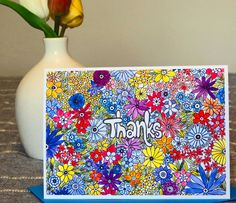 """Blank Greeting Card - """"Fun Floral Thanks"""" - Pen and Ink - Watercolor Flowers - Thank You Card - Gratitude - Thanks Friend or Family - Bright by CreateThriveGrow on Etsy"""