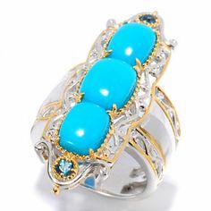 Gems en Vogue II Sleeping Beauty Turquoise & London Blue Topaz Elongated Ring