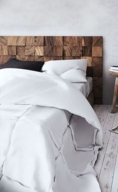 End grain solid wood headboard