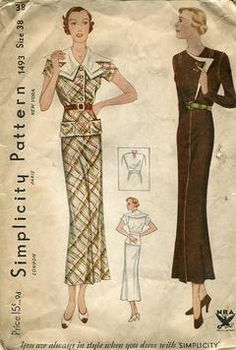 Sewing Patterns,Vintage,Out of Print,Retro,Vogue Simplicity McCall's,Over 7000 - Simplicity 1493 Retro 1930's Vintage Dress Frock 38