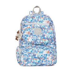 Kipling Dawson Laptop Backpack ($90) ❤ liked on Polyvore featuring bags, backpacks, popsicle dream, travel bag, blue travel bag, laptop backpack, kipling backpack and backpack travel bag