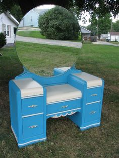 Waterfall Vanity Makeover By The Primitive Dragonfly - Featured On Furniture Flippin'
