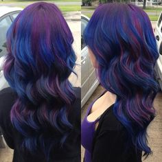 blue and purple highlights in brown hair - this as my colors but more subtle and a balance of blue and burgundy