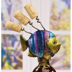 wine bottle toppers | ... Hand Sculpted Wrought Iron Tropical Fish Corkscrew Wine Bottle Topper