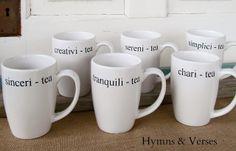 Hospitali - tea: Create tea lover's mugs with a sharpie or porcelain pen- Hymns and Verses