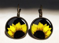 SUNFLOWERS Big Earrings, 0388ERB from EgginEgg by DaWanda.com