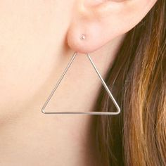 Two Way Silver Or Gold Triangle Earrings - geometric shapes