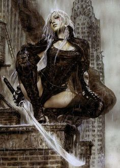 Tears Over New York by Luis Royo - Fantasy Art Village Dark Fantasy Art, Fantasy Girl, Chica Fantasy, Fantasy Art Women, Fantasy Kunst, Fantasy Warrior, Fantasy Artwork, Dark Art, Fantasy Characters