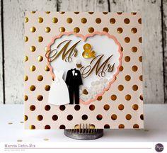 Card: Mr & Mr - Create a pretty heart shaped shaker window on a handmade wedding card.