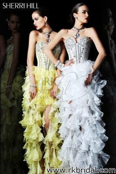 Sherri Hill Collection Spring 2013 - Style 1543 Flamenco style w/bodice (blue or white)