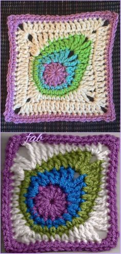 Crochet Peacock Feather Motif Patterns - Crochet Peacock Square Free Pattern