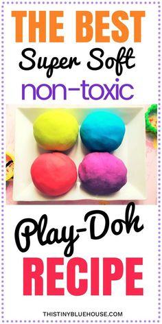 Super Easy DIY Non-Toxic Play-Doh - This Tiny Blue House The best super easy non-toxic play doh recipe. Super soft, non sticky that stores really well this super simple play-doh recipe is guaranteed to keep your kids busy for hours Play-Doh Recipe Projects For Kids, Diy For Kids, Kids Crafts, Diy Projects, Easy Crafts, Kids Fun, Fun Things For Kids, Simple Crafts For Kids, Hero Crafts