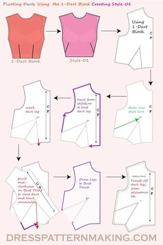 Using the Bodice Block, pivot the waist dart into the side seam (French Dart). Using the Bodice Block, pivot the waist dart into the side seam (French Dart). Dress Sewing Patterns, Sewing Patterns Free, Free Sewing, Clothing Patterns, Shirt Patterns For Women, Skirt Patterns, Pattern Sewing, Coat Patterns, Pattern Cutting