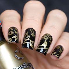 "Dance Legend Stamping Polish ""Gold"" over black & plate MoYou London Mother Nature Collection 02.  @dancelegendofficial"