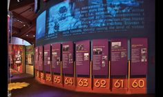 A dimensional timeline at the Museum at Bethel Woods uses static text and video to capture the tumultuous era. Museum Exhibition Design, Design Museum, Exhibition Room, Timeline Design, Timeline Ideas, Timeline Project, Museum Displays, History Timeline, Video Wall