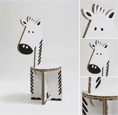 Unconventional Design For Kids: ZOË cardboard furniture animals, zebra Cardboard Chair, Cardboard Animals, Cardboard Design, Cardboard Paper, Cardboard Furniture, Cardboard Crafts, Kids Furniture, Camping Crafts, Craft Activities For Kids