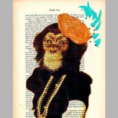 $10 Miss Monkey - ORIGINAL ARTWORK  Mixed Media, Hand Painted on 1920 famous Parisien Magazine 'La Petit Illustration' by Coco De Paris