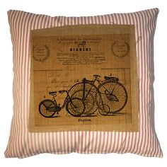 Cotton and burlap pillow with a typographic motif.  Product: PillowConstruction Material: Cotton and burlap...