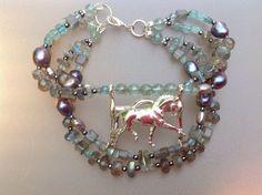 Dressage Horse In weymouth Bracelet Cuff Equine Jewelry Geometric Gemstone Beads