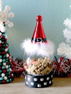 How For Making Candles In Your House - Solitary Interest Or Relatives Affair Santa Paws Dog Treat Holder Crafts For Boys, Christmas Crafts For Kids, Diy Christmas Ornaments, Diy For Kids, Holiday Crafts, Diy Crafts, Mason Jar Crafts, Mason Jar Diy, Treat Holder