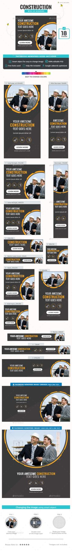 Construction Banners — Photoshop PSD #house #animated banner • Available here → https://graphicriver.net/item/construction-banners/20062558?ref=pxcr