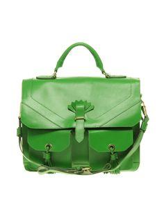Asos Green Leather Tassle Bag