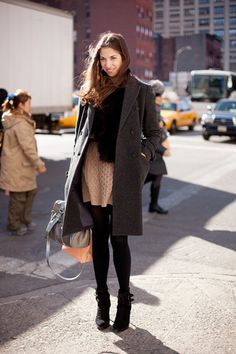 Susan Cernek on Refinery 29. Look at her belted Aran sweater dress! So cute.