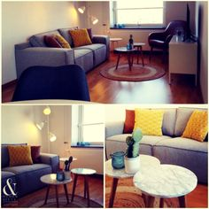 Styling expatwoning by & other stuff. Interiors! Okergeel en blauw!