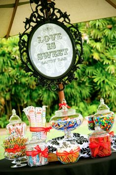 The ever popular candy buffet is always a hit at every wedding or event! The candy buffet is certainly not a new idea but in my opi. Candy Bar Wedding, Wedding Favors, Wedding Decorations, Wedding Reception, Candy Table, Candy Buffet, Popular Candy, Color Menta, Bar A Bonbon