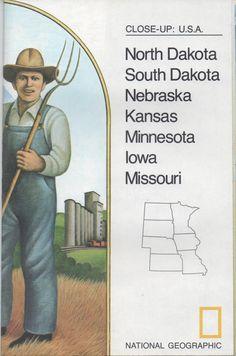 National Geographic Society Map, Close - Up USA, North Dakota, South Dakota, Nebraska, Kansas, Minnesota, Iowa, Missouri, 1974, good shape by VintageNEJunk on Etsy