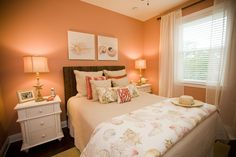 Coastal Coral bedroom.