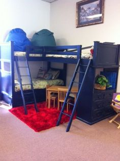 This would be ideal. Tri Loft Bunk Beds | BL-85 TRI BUNK WITH CHEST BED