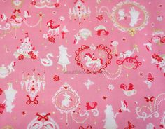 Alice in wonderland fabric Alice and Bambi print pink