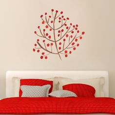 Red Berry Branch - Printed Wall Decal - Sweetums Wall Decals